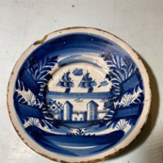"Antigüedades: PLATO EN CERÁMICA AZUL CATALANA, S XVIII SERIE ""FEIXES I CINTES"". Lote 239497375"