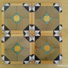 Antigüedades: A53 PANEL 4 AZULEJOS MODERNISTAS VALENCIANOS FINALES 1800. Lote 239521080