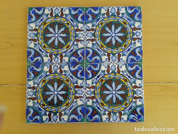 AZ-45A 4 AZULEJOS VALENCIANOS 1920 (Antigüedades - Porcelanas y Cerámicas - Azulejos)