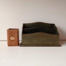 Antigüedades: PORTA CARTA PIEL. Lote 239579400