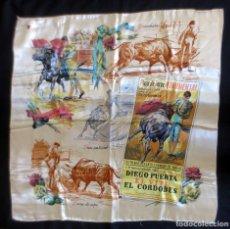 Antigüedades: PAÑUELO CON CARTEL PLAZA DE TOROS - TAUROMAQUIA. Lote 239579670