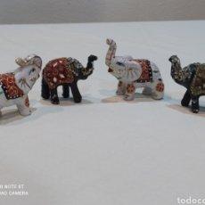 Antigüedades: PRECIOSO LOTE DE 4 ELEFANTES DE PORCELANA Y RESINA PINTADOS Y CON TODO TIPO DE DETALLES. Lote 239601260