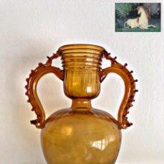 Antigüedades: JARRÓN DE GORDIOLA. VIDRIO SOPLADO MUY ANTIGUO. Lote 239797850
