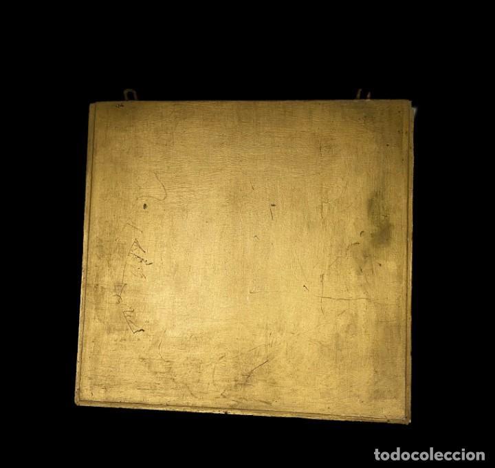 Antigüedades: Antigua peana, repisa, ménsula, pedestal de madera dorada al oro fino. Siglo XIX. 37x35x10. Sólida - Foto 4 - 240100255