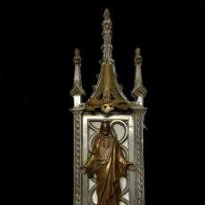 Antigüedades: ANTIGUA CAPILLA CON UN SAGRADO CORAZÓN DE JESÚS, NEOGÓTICO, ESTAÑO. RAREZA.50X16X6. XIX. Lote 240101605