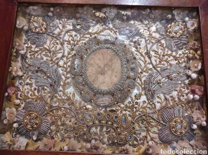 Antigüedades: Antiguo Relicario Enmarcado XVIII - Foto 2 - 240125005