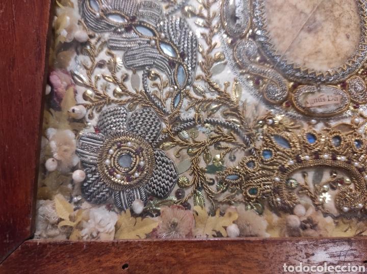 Antigüedades: Antiguo Relicario Enmarcado XVIII - Foto 5 - 240125005
