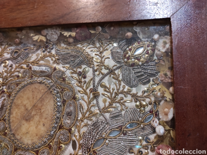 Antigüedades: Antiguo Relicario Enmarcado XVIII - Foto 7 - 240125005