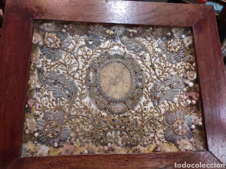 Antigüedades: Antiguo Relicario Enmarcado XVIII - Foto 10 - 240125005
