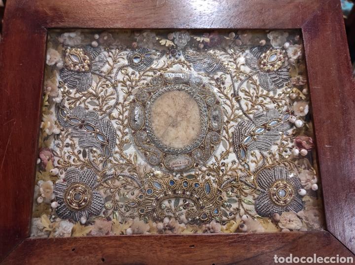 ANTIGUO RELICARIO ENMARCADO XVIII (Antigüedades - Religiosas - Relicarios y Custodias)