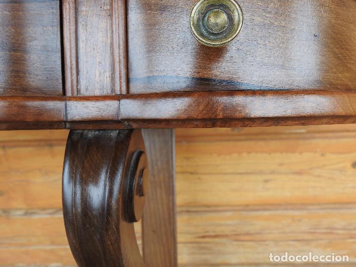 Antigüedades: pareja de mesitas de dormitorio tipo mensula final del 19 en nogal español macizo perfectas medidas - Foto 4 - 240140060