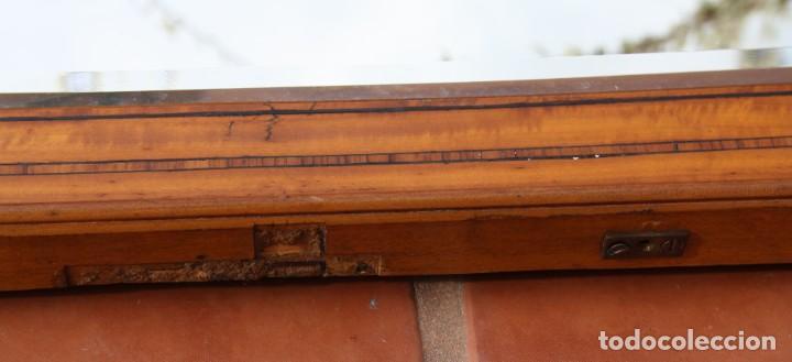 Antigüedades: ANTIGUO ESPEJO OVALADO BISELADO CON MARCO DE MADERA CON MARQUETERIA – GRANDES DIMENSIONES 1,45 CM - Foto 6 - 240190075