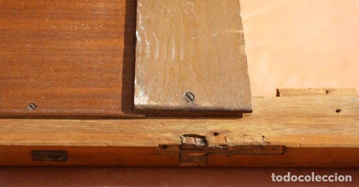 Antigüedades: ANTIGUO ESPEJO OVALADO BISELADO CON MARCO DE MADERA CON MARQUETERIA – GRANDES DIMENSIONES 1,45 CM - Foto 9 - 240190075