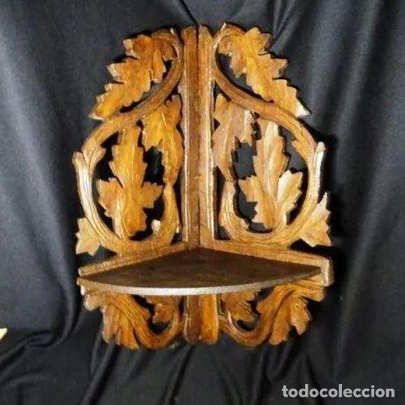 ANTIGUA REPISA EN MADERA TALLADA A MANO. ESTANTERIA , MENSULA (Antigüedades - Muebles Antiguos - Repisas Antiguas)