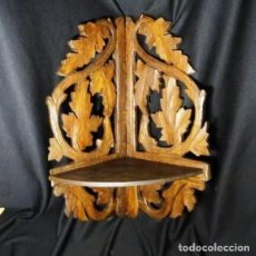 Antigüedades: ANTIGUA REPISA EN MADERA TALLADA A MANO. ESTANTERIA , MENSULA. Lote 240196415