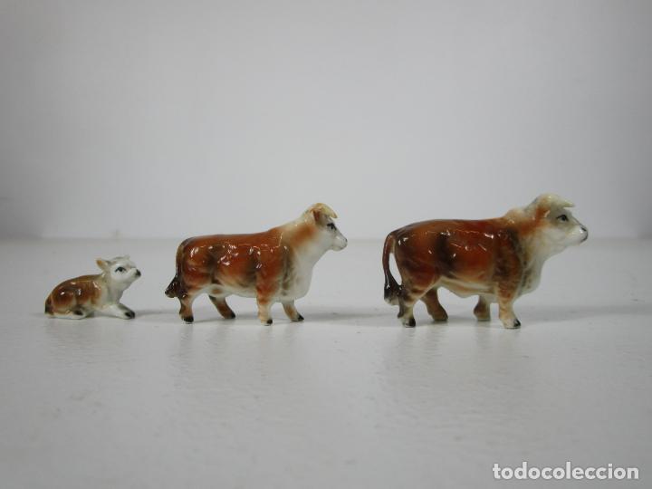 Antigüedades: Porcelana Inglesa - Vaca, Toro y Ternero Miniatura - Muy Buena Calidad - Foto 2 - 240231320