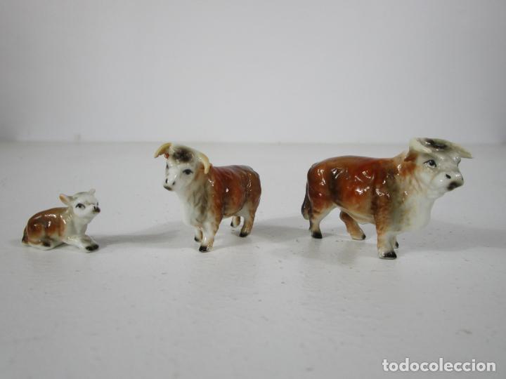 Antigüedades: Porcelana Inglesa - Vaca, Toro y Ternero Miniatura - Muy Buena Calidad - Foto 5 - 240231320