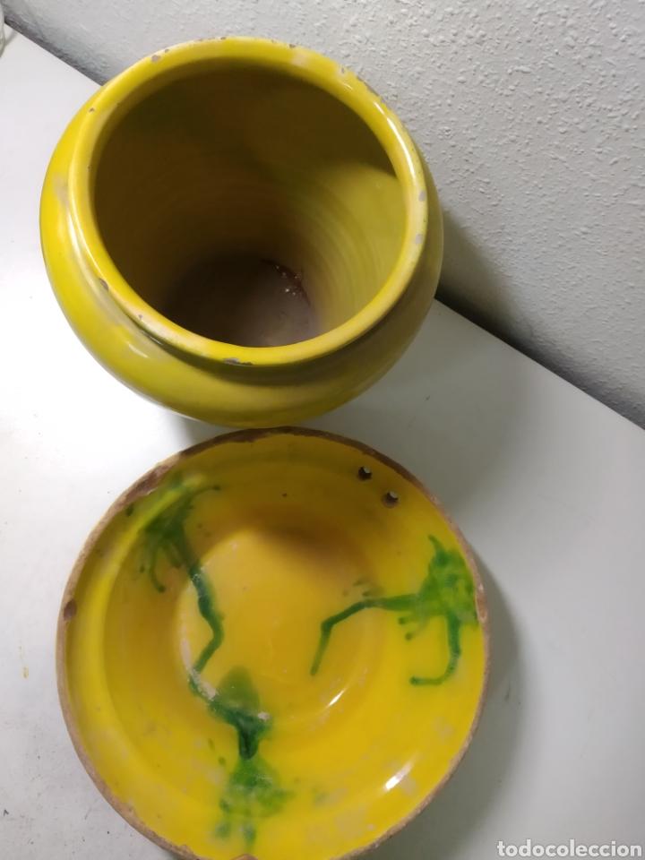 Antigüedades: Conjunto de Antigua cerámica catalana finales siglo XIX ,orza y lebrillo de cocina - Foto 2 - 240358410
