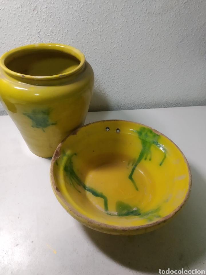 Antigüedades: Conjunto de Antigua cerámica catalana finales siglo XIX ,orza y lebrillo de cocina - Foto 3 - 240358410
