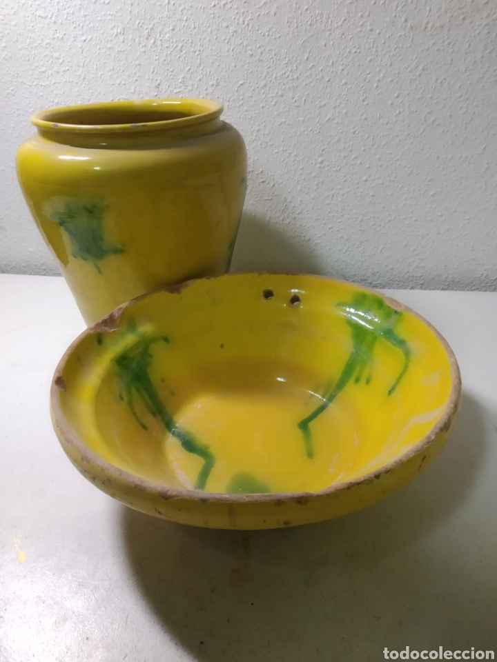 Antigüedades: Conjunto de Antigua cerámica catalana finales siglo XIX ,orza y lebrillo de cocina - Foto 4 - 240358410