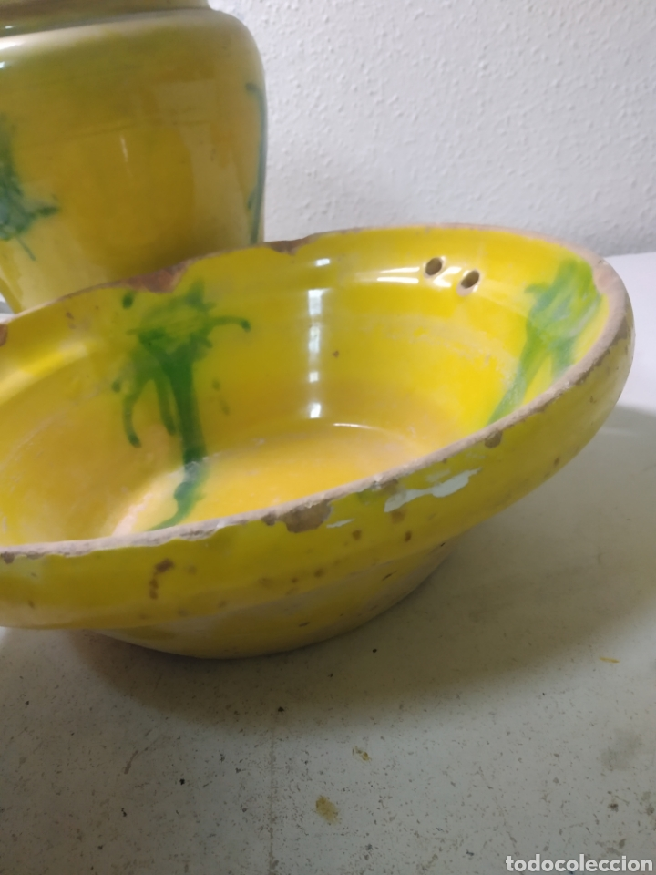 Antigüedades: Conjunto de Antigua cerámica catalana finales siglo XIX ,orza y lebrillo de cocina - Foto 5 - 240358410