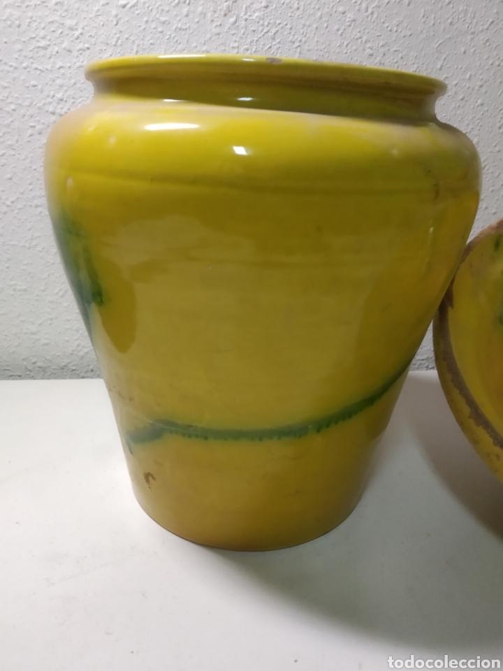 Antigüedades: Conjunto de Antigua cerámica catalana finales siglo XIX ,orza y lebrillo de cocina - Foto 7 - 240358410