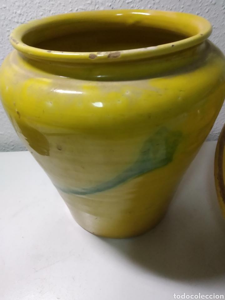 Antigüedades: Conjunto de Antigua cerámica catalana finales siglo XIX ,orza y lebrillo de cocina - Foto 15 - 240358410