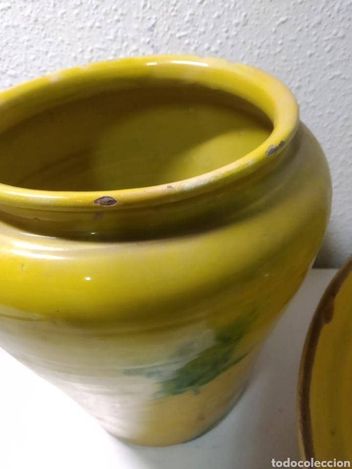 Antigüedades: Conjunto de Antigua cerámica catalana finales siglo XIX ,orza y lebrillo de cocina - Foto 16 - 240358410