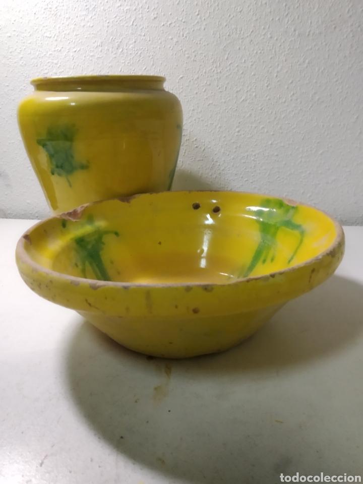 Antigüedades: Conjunto de Antigua cerámica catalana finales siglo XIX ,orza y lebrillo de cocina - Foto 21 - 240358410