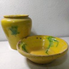 Antigüedades: CONJUNTO DE ANTIGUA CERÁMICA CATALANA FINALES SIGLO XIX ,ORZA Y LEBRILLO DE COCINA. Lote 240358410