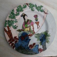 Antigüedades: ANTIGUO PLATO DE PORCELANA CHINA O JAPON MUJER ASIATICA ASIA. Lote 240441855