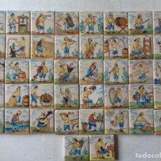 Antigüedades: CUARENTA Y DOS AZULEJOS DE OFICIOS DE 5 X 5 CTMS. Lote 240518195