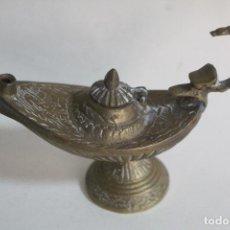 Antigüedades: LAMPARA ALADINO CANDIL ANTIGUO DE BRONCE. Lote 240573845