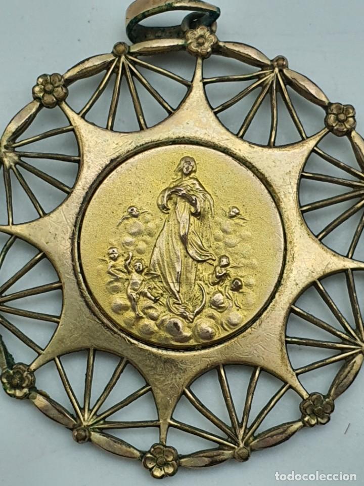 Antigüedades: COLGANTE RELIGOSO EN METAL ( VIRGEN SIN IDENTIFICAR ) - Foto 2 - 240601815