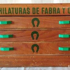 Antiguidades: FANTASTICA CAJA ORIGINAL C.A. HILATURAS DE FABRA Y COATS LLENA DE HILOS DE COSER. Lote 240676285
