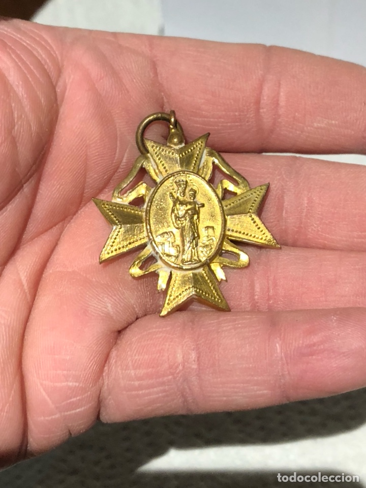 Antigüedades: Bonita medalla religiosa dorada al Mercurio - Foto 2 - 240716130