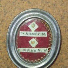 Antigüedades: RELICARIO CON RELIQUIA DE SANTA BARBARA Y SANTA ARTEMIA EX OSIBUS EPOCA ( 1800). Lote 240737255