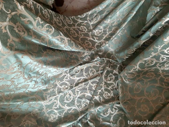 Antigüedades: Damasco verde esmeralda 290 x 260 cm tejido para tapizar o confección - Foto 5 - 239367160