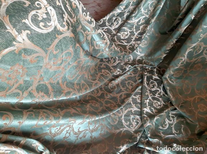 Antigüedades: Damasco verde esmeralda 290 x 260 cm tejido para tapizar o confección - Foto 4 - 239367160