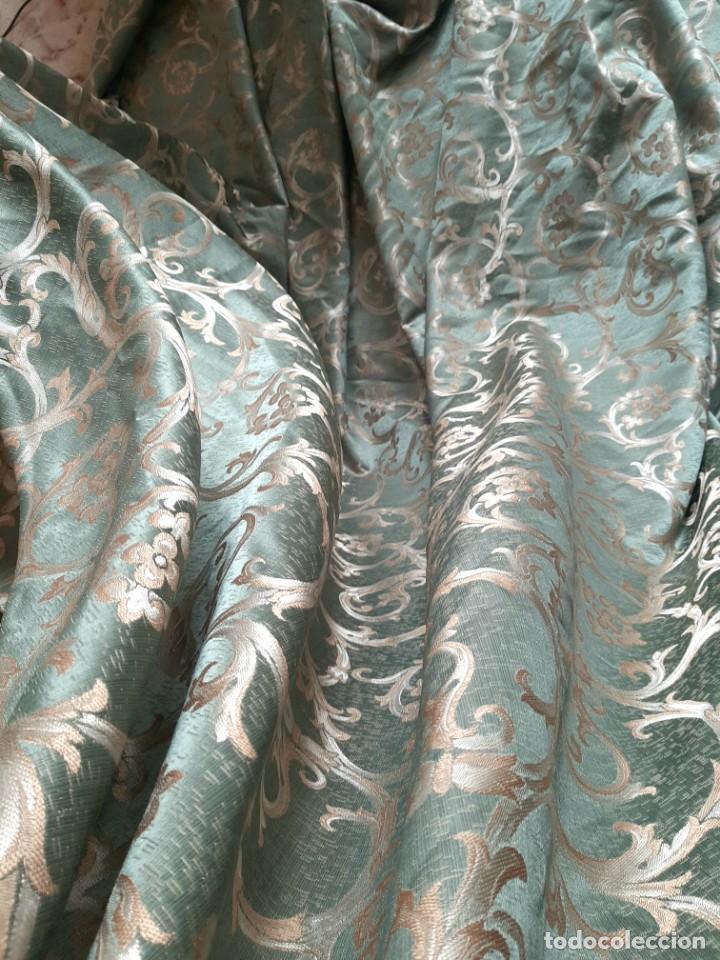 Antigüedades: Damasco verde esmeralda 290 x 260 cm tejido para tapizar o confección - Foto 3 - 239367160