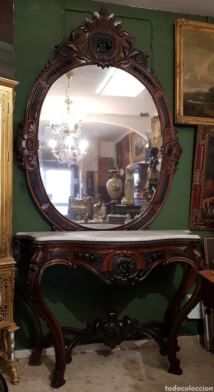 Antigüedades: Fantástica consola con espejo a juego en palo santo isabelina - Foto 2 - 178713022