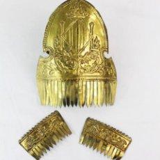 Antiquités: PEINETA HORQUILLAS FALLERA. MDEIADOS SXX 20X16CM Y HORQUILLAS 10X5.5CM. Lote 240794190