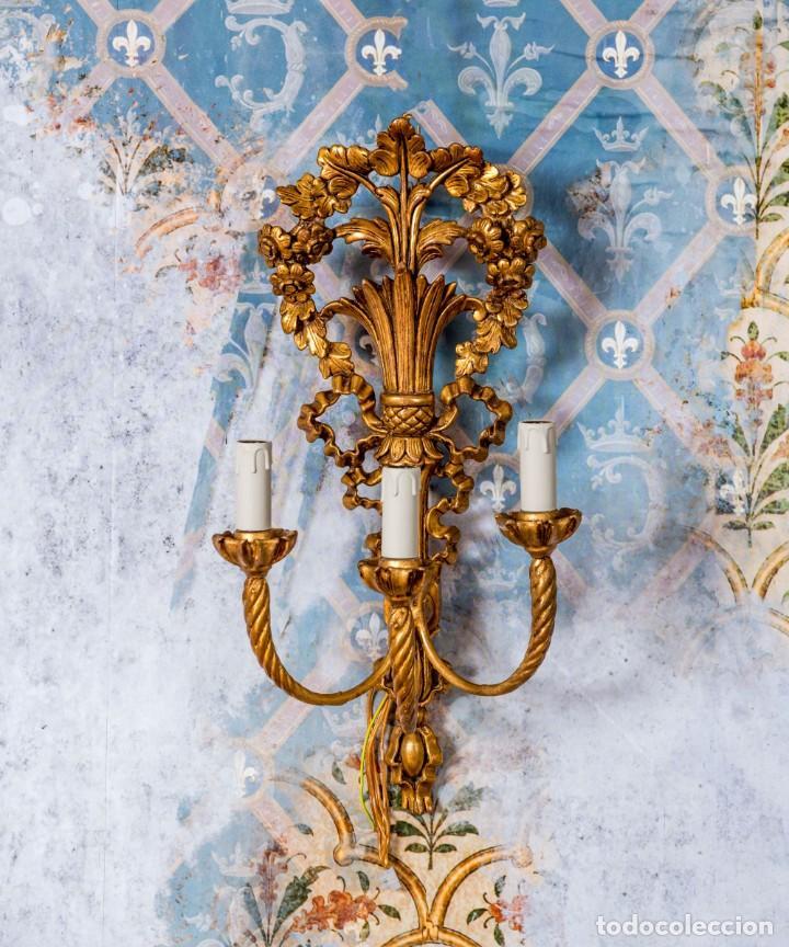 Antigüedades: Pareja De Apliques Antiguos De Madera - Foto 2 - 240859735