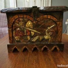 Antigüedades: CAJÓN BAÚL ANTIGUO DE MADERA TALLADO. Lote 240909910