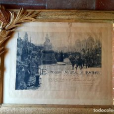 Antigüedades: ANTIGUO CUADRO EXPOSICION UNIVERSAL BARCELONA 1888 , DIPLOMA AL PINTOR VICTOR MORELLI SANCHEZ GIL. Lote 240912965