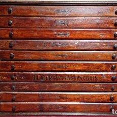 Antiguidades: MUEBLE DE MADERA / CAJONERA DE MERCERIA CON 10 CAJONES DE HILATURAS FABRA Y COATS BARCELONA. Lote 240928640