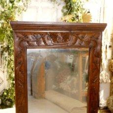 Antigüedades: ESPEJO ESTILO MODERNISTA, GRAN TAMAÑO. MADERA TALLADA DECORACION FLORAL. Lote 240933040