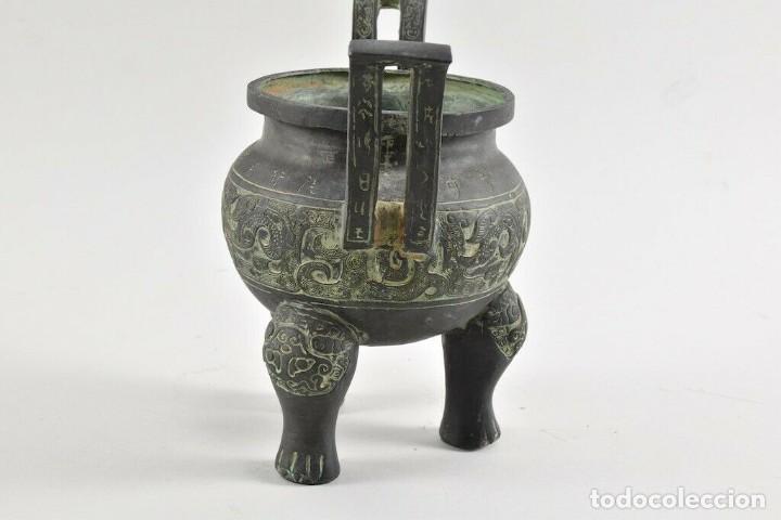 ANTIGUO QUEMADOR DE INCIENSO KORO, INCENSARIO CHINA S.XVIII CERAMICA BRONCE 20 CM DINASTÍA, QING, (Antigüedades - Porcelanas y Cerámicas - China)