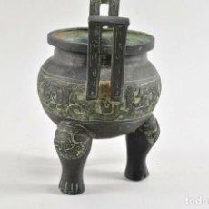 Antigüedades: ANTIGUO QUEMADOR DE INCIENSO KORO, INCENSARIO CHINA S.XVIII CERAMICA BRONCE 20 CM DINASTÍA, QING,. Lote 240952570