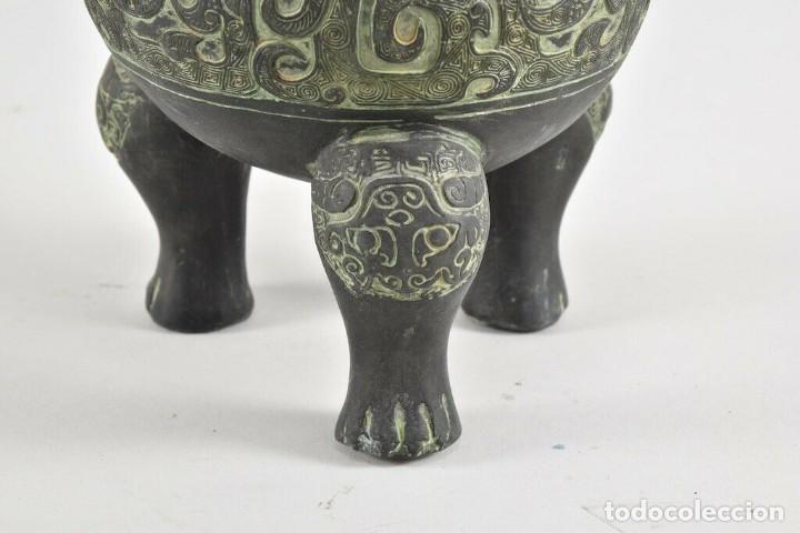 Antigüedades: Antiguo quemador de incienso Koro, incensario China S.XVIII CERAMICA BRONCE 20 cm dinastía, Qing, - Foto 2 - 240952570
